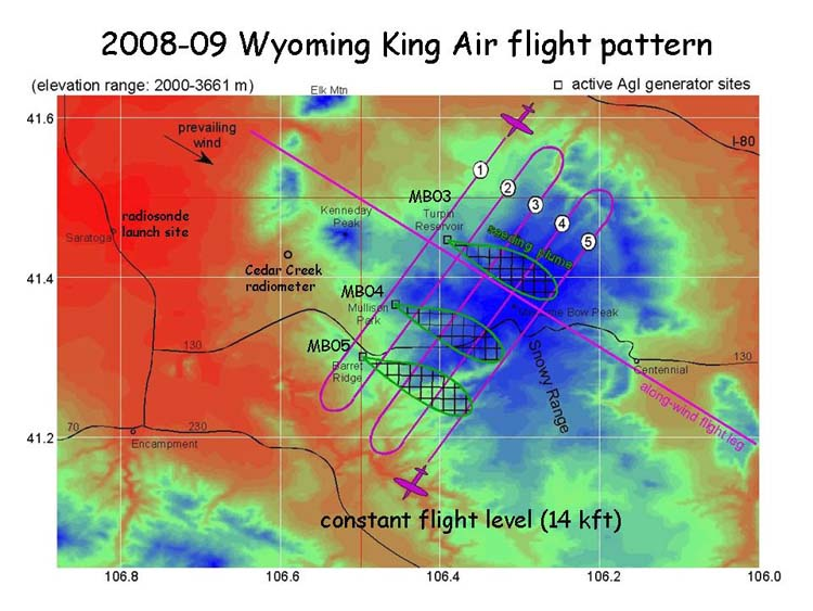 snowpack augmentation usgs - cloud seeding - wyoming king air