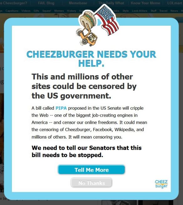 ICanHazCheezburger SOPA PIPA blackout