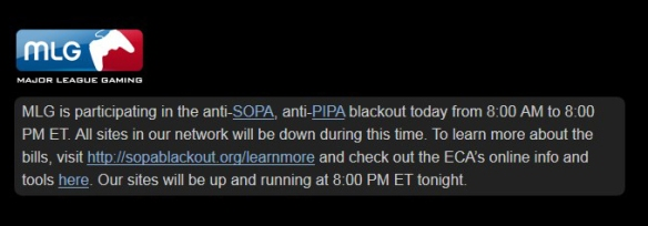 Major League Gaming SOPA PIPA blackout