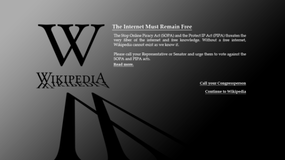 Wikipedia SOPA Blackout screen