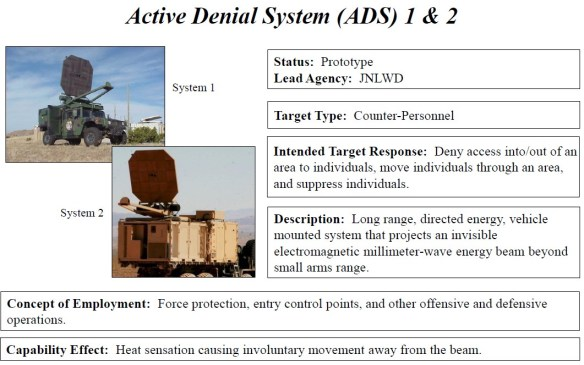 JNLWD Active Denial System ADS 1 - ADS 2