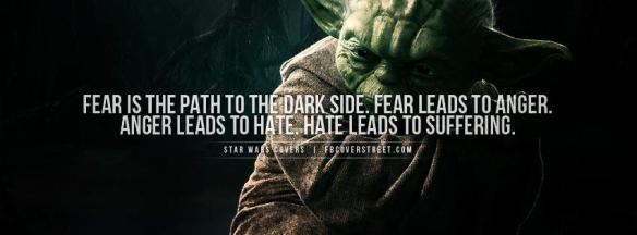 Fear leads to anger, anger leads to hate, hate leads suffering. End fear without violence, end the slavespeak.