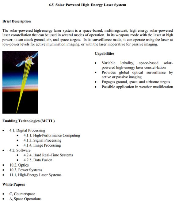 AF 2025 Weather Modification Solar-Powered High-Energy Laser
