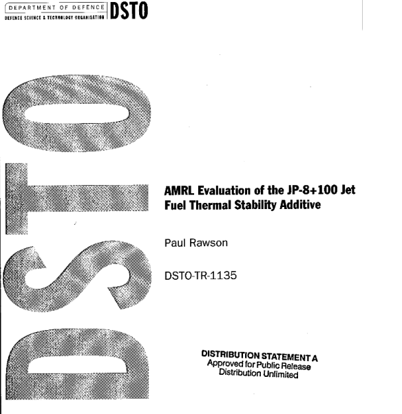 AMRL Evaluation of the JP-8+100 Jet Fuel Thermal Stability Additive