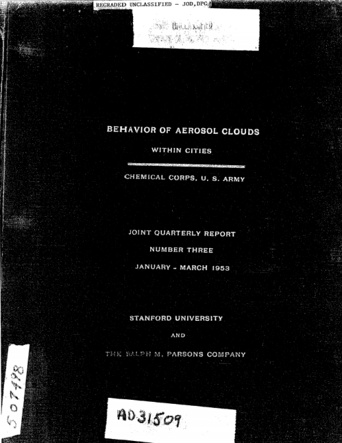 Behavior of Aerosol Clouds within Cities - Chemical Corps - US Army radioactive release in St Louis Jan-Mar 1953