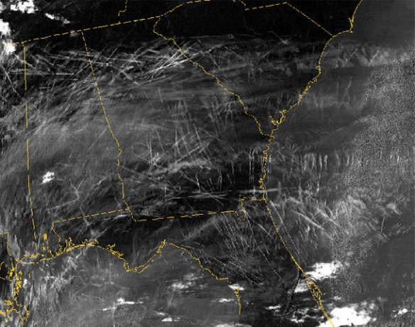 The sheer number of contrails generated on a typical day in busy air corridors can come as a shock. A NASA satellite took this enhanced infrared image of the southeastern U.S. on January 29, 2004. Photo credit: Courtesy NASA Langley Research Center